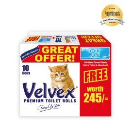 Velvex 2-Ply Toilet Tissue - 10s'x2 Rolls + Qik Dri Hand Towel Free - Bulkbox Wholesale